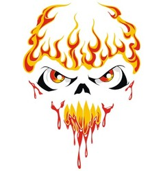 Fire face skull vector