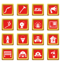 Fireman tools icons set red vector