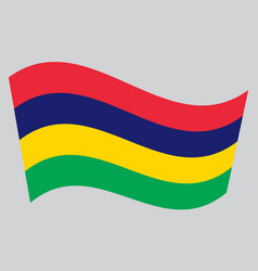 flag of mauritius waving on gray background vector image