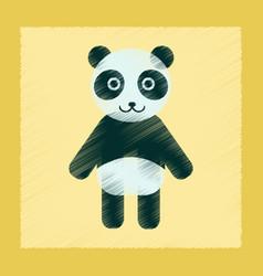 Flat shading style icon panda bear vector