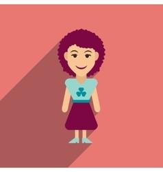 Flat web icon with long shadow Irish woman vector