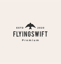 flying swift bird hipster vintage logo icon vector image