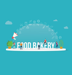 food bakery concept with team people working vector image