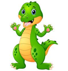 funny crocodile cartoon waving hand vector image