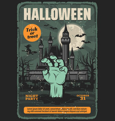 Halloween haunted house with zombie moon and bats vector