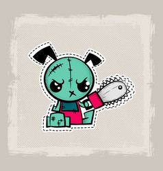 Halloween stitch dog zombie puppy voodoo doll vector