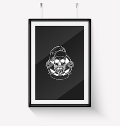 Hand drawn sketch skull with cooks hat vector