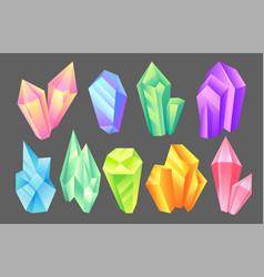 Iridescent stones set minerals crystals gems vector