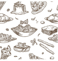 Italian cuisine sketch seamless pattern vector