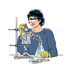 laboratory assistant working in scientific medical vector image