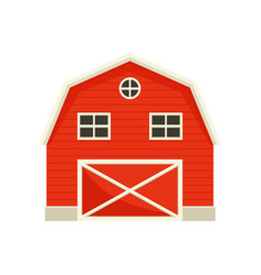 Large wooden red barn on vector