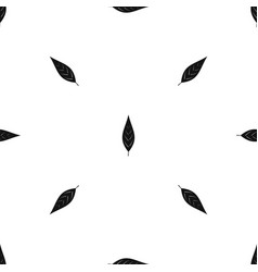 Leaf of willow pattern seamless black vector