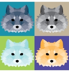 Low poly foxes set vector