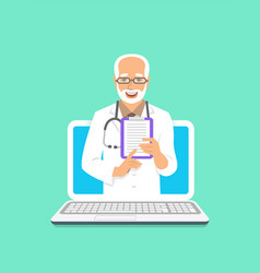 man doctor online consultation concept vector image