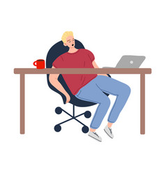 Man napping in chair in office during dinner time vector