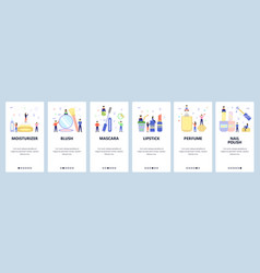 Mobile app onboarding screens make up and beauty vector