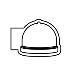 Monochrome contour emblem with cloche icon food vector