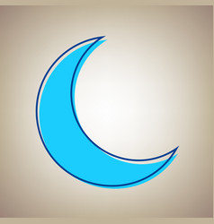 Moon sign sky blue icon with vector