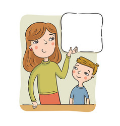mother or the teacher shows to the boy on the vector image