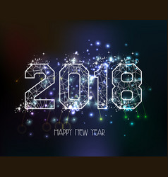 New years 2018 polygonal line light background vector