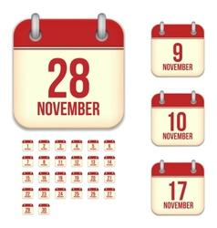 November calendar icons vector