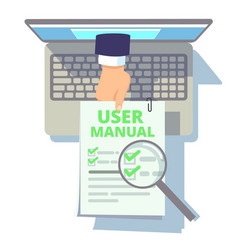 Online user guide web manual hand from laptop vector