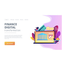 Open banking platform concept landing page vector