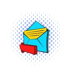 Outgoing e-mail icon pop-art style vector