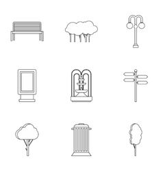 Park things icons set outline style vector image