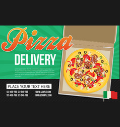 Pizza box advertisement banner pizza box delivery vector
