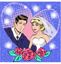 pop art of bride and groom vector image