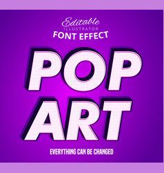 Pop art text editable font effect vector