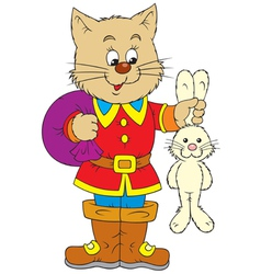 Puss in boots and rabbit vector