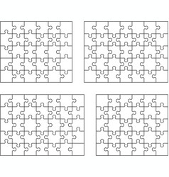 Puzzles separate pieces vector
