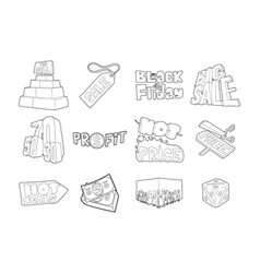 sale icon set outline style vector image