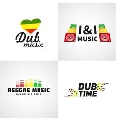 Set africa flag logo design jamaica music vector