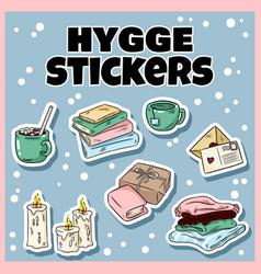 set cute hygge sticker doodles cartoon comic vector image