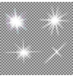 Set glowing light bursts with sparkles vector
