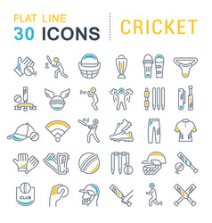Set line icons cricket vector