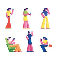 set women with smartphone gadget addiction vector image