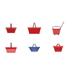 shop basket icon set cartoon style vector image