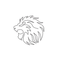 single continuous line drawing elegant lion vector image