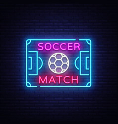 soccer match logo neon design template vector image