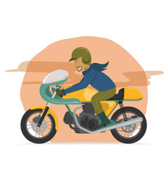 Speeding classic motorcycle rider vector