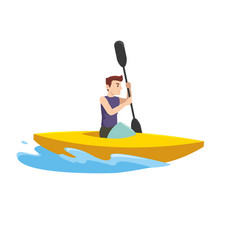 sports man in the tournament with the boat vector image
