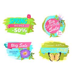 Spring big sale discounts 50 posters set labels vector