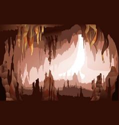 Stalactites stalagmites cave interior view vector