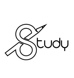 Study logo with styled s and pencil vector