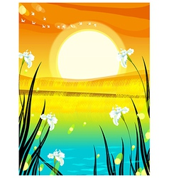 Sunset seaside view vector