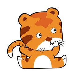 tiger in cartoon style vector image